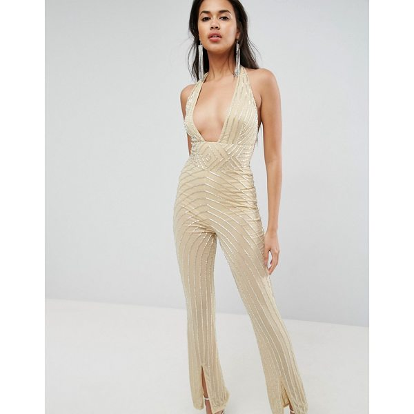 ASOS Embellished Jumpsuit with Halter and Plunge Detail - Jumpsuit by ASOS Collection, Plunge front, Boob tape might...