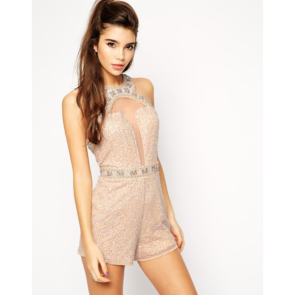 ASOS Embellished playsuit with plunge detail - Romper by ASOS Collection Heavily embellished mesh...