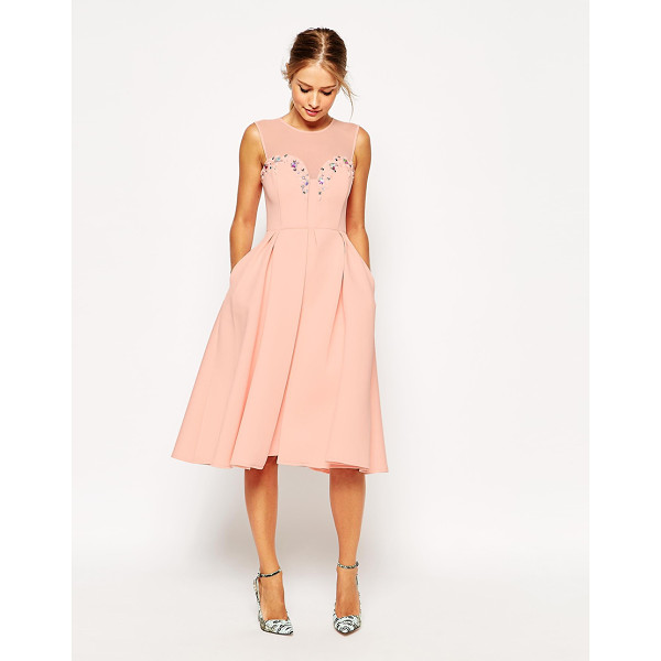 ASOS Embellished plunge scuba debutante dress - Dress by ASOS Collection Scuba-style knitted fabric Round...