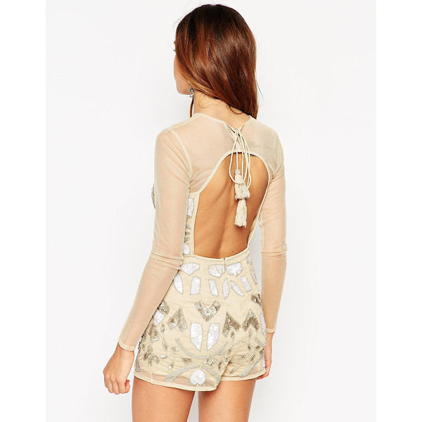 ASOS Embellished romper in gold with tassle back tie - Romper by ASOS Collection Mid-weight mesh Partial lining...
