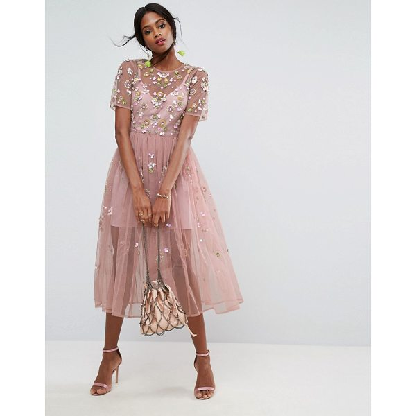 """ASOS Embellished Smock Midi Dress - """"""""Midi dress by ASOS Collection, Midweight woven fabric,..."""