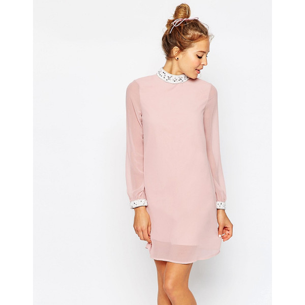 ASOS Embellished Trim Mini Shift Dress - Dress by ASOS Collection, Lined woven fabric, Embellished...