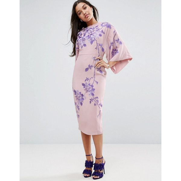 "ASOS Embroidered Kimono Midi Dress - """"Midi dress by ASOS Collection, Lined woven fabric, Slash..."