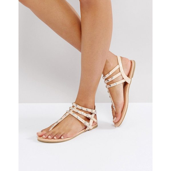 ASOS FABIENNE Studded Flat Sandals - Sandals by ASOS Collection, Faux leather upper, Ankle-strap...