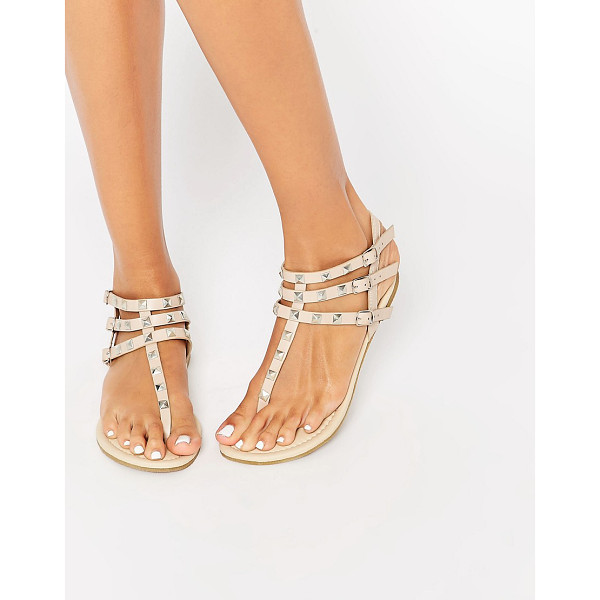 ASOS Fabienne studded flat sandals - Sandals by ASOS Collection, Faux leather upper, Toe-post...