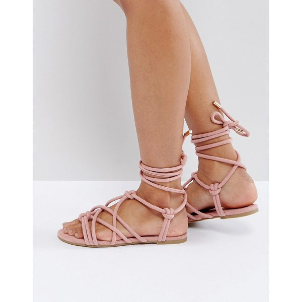 ASOS FACTOR Tie Leg Flat Sandals - Sandals by ASOS Collection, Textile upper, Tie fastening,...