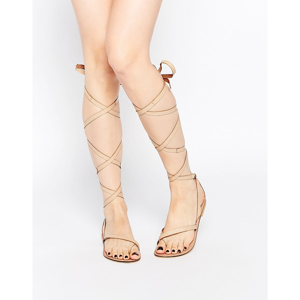 ASOS FAIRY Tie Leg Leather Sandals - Sandals by ASOS Collection, Smooth leather upper, Lace-up...