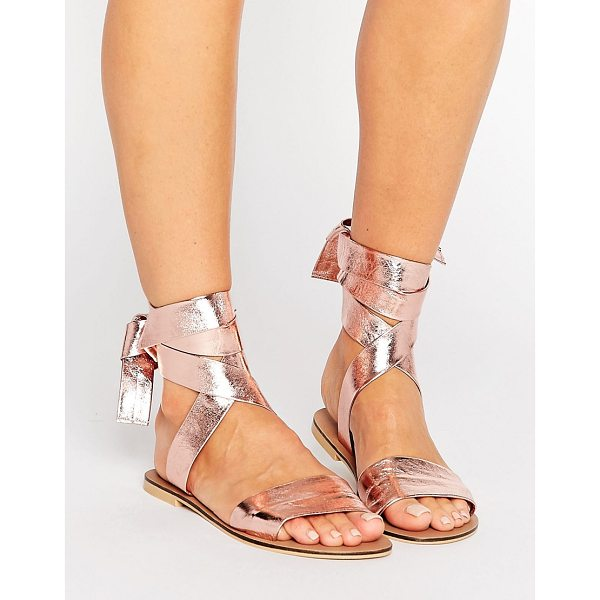 ASOS FAMOUS Leather Tie Leg Sandals - Sandals by ASOS Collection, Metallic leather upper, Tie-leg...