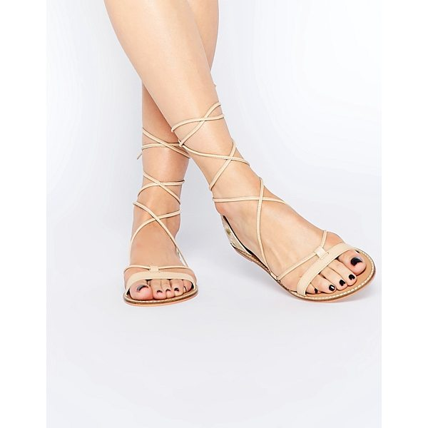 ASOS FATE Leather Embroidered Tie Leg Sandals - Sandals by ASOS Collection, Smooth, leather-look upper,...
