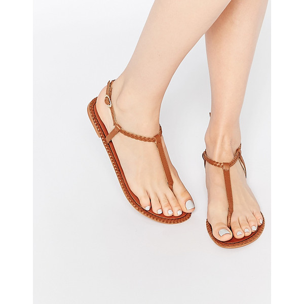 ASOS FEATHER Leather Braid Sandals - Sandals by ASOS Collection, Leather upper, Toe post design,...
