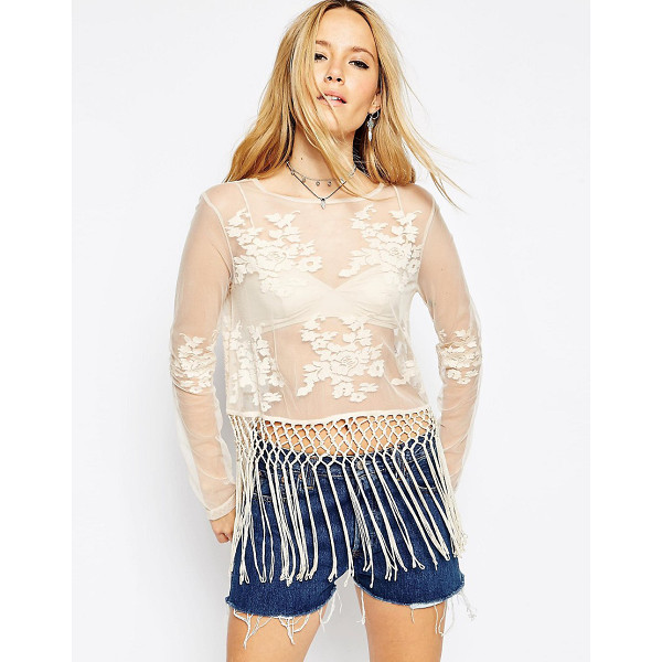 ASOS Festival Top with Embroidery and Fringing - Top by ASOS Collection, Sheer mesh fabric, Round neckline,...