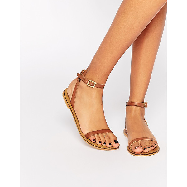 ASOS FINLAY Leather Flat Sandals - Sandals by ASOS Collection, Real leather, Open toe, Pin...