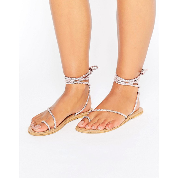 ASOS FIRE FLY Leather Lace Up Flat Sandals - Sandals by ASOS Collection, Plaited leather upper, Metallic