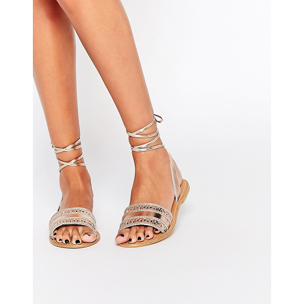 ASOS FLABOGAST Suede Tie Leg Sandals - Sandals by ASOS Collection, Metallic leather upper,...