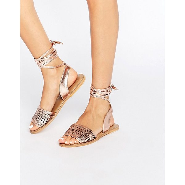 ASOS FLAIZ Leather Tie Leg Sandals - Sandals by ASOS Collection, Metallic leather upper,...