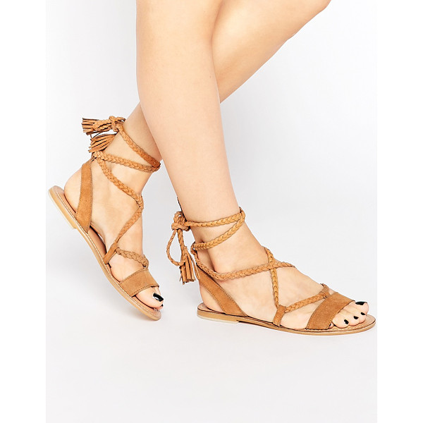 ASOS FLEUR Suede Tie Leg Sandals - Sandals by ASOS Collection, Suede upper, Lace-up closure,...
