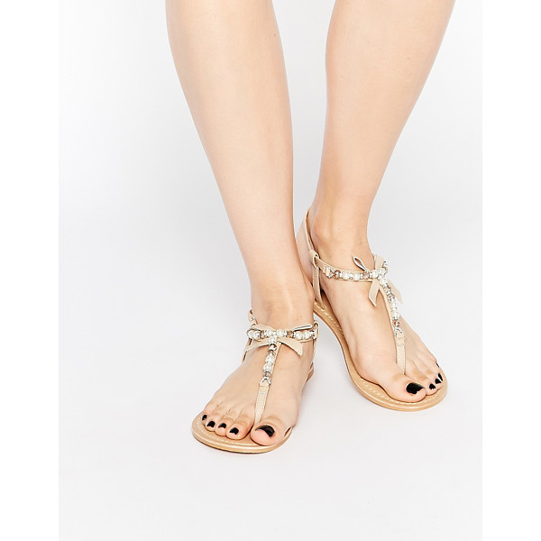 ASOS Florence embellished leather sandals - Sandals by ASOS Collection, Matte leather upper, Pin buckle...