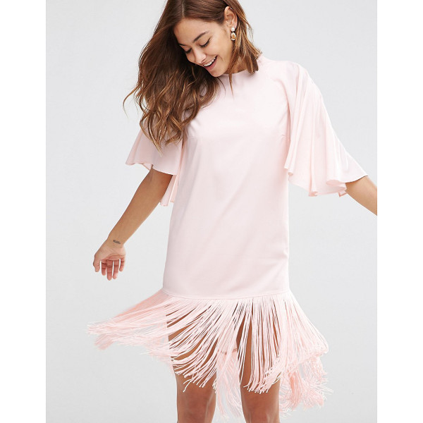 ASOS Flutter Sleeve Mini T Shirt Dress With Fringe Hem - Dress by ASOS Collection, Woven fabric, Crew neck, Flutter...