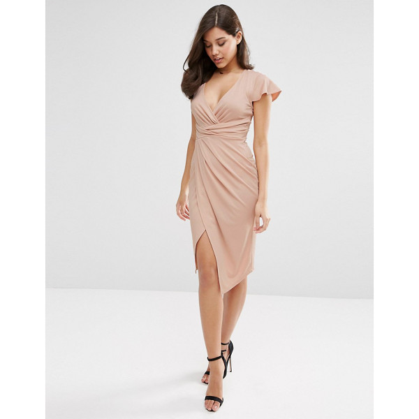 ASOS Flutter Sleeve Wrap Front Midi Dress - Midi dress by ASOS Collection, Smooth stretch fabric, Wrap...