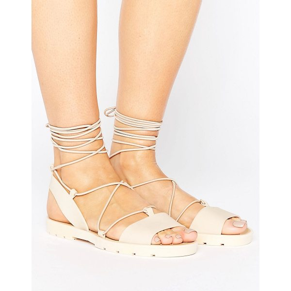ASOS FLUTTER Tie Leg Jelly Sandals - Sandals by ASOS Collection, Smooth rubber upper, Lace-up...