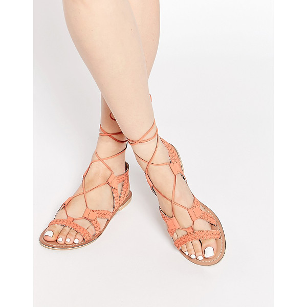 ASOS For love tie up leather sandals - Sandals by ASOS Collection Woven leather upper Lace-up...