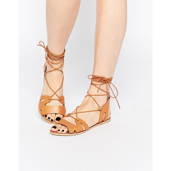 ASOS Fuerta lace up leather sandals - Sandals by ASOS Collection, Smooth leather upper, Lace-up...