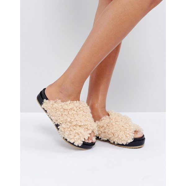 ASOS FURRY Sliders - Sandals by ASOS Collection, Boucle faux-fur upper, Slip-on...
