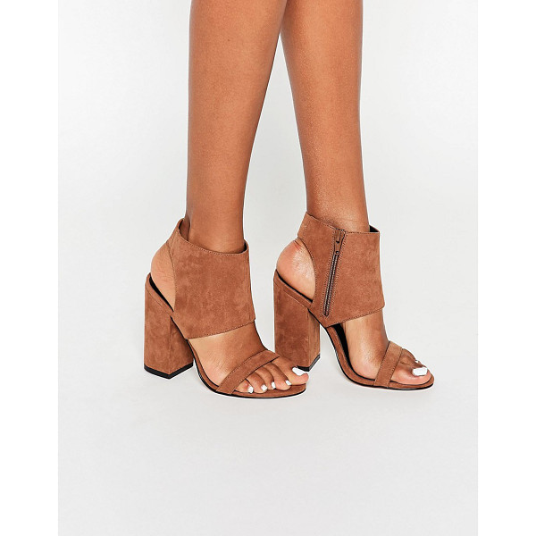 ASOS HALFWAY Heeled Sandals - Sandals by ASOS Collection, Faux leather upper, Side zip...