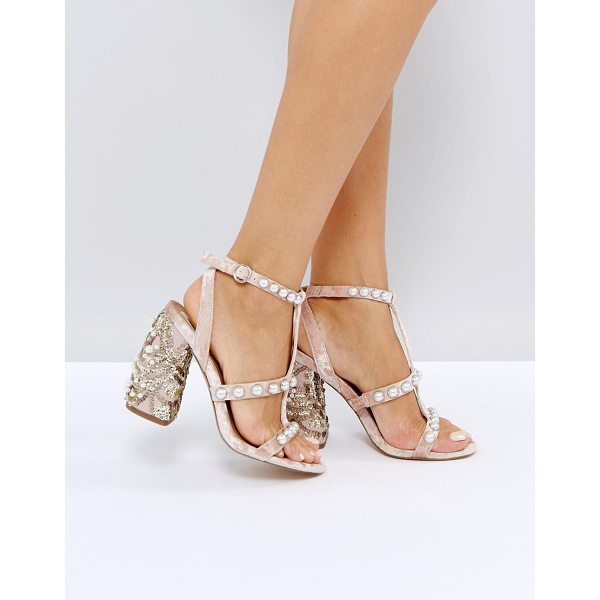 """ASOS HALL OF FAME Embellished Heeled Sandals - """"""""Shoes by ASOS Collection, Textile upper, Ankle-strap..."""