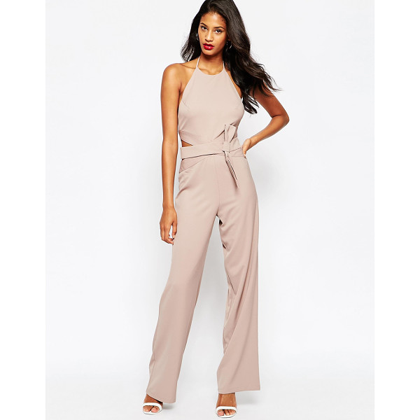 ASOS Halter jumpsuit with bow belt - Jumpsuit by ASOS Collection Woven fabric Halter neckline...