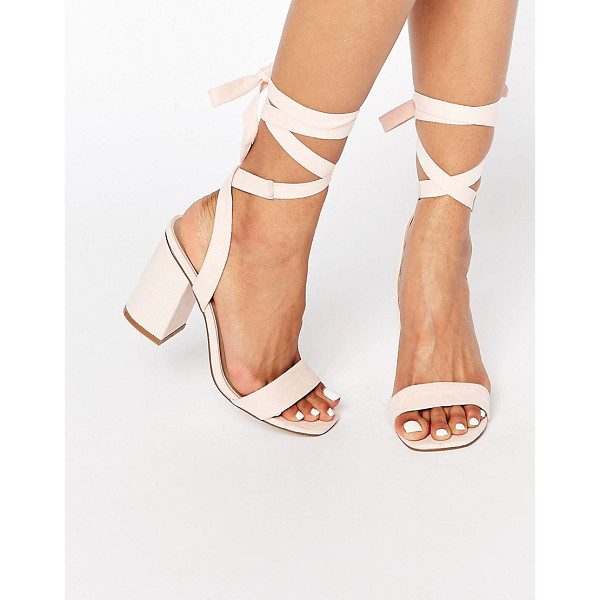 ASOS Handshake lace up heeled sandals - Sandals by ASOS Collection, Faux-suede upper, Lace-up...