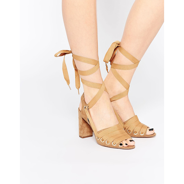 ASOS HANGMAN Heeled Sandals - Heels by ASOS Collection, Faux-suede upper, Laced ribbon...