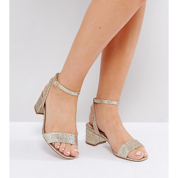 "ASOS HAPPENING Wide Fit Mid Heeled Sandals - """"Sandals by ASOS Collection, Glittered upper, Ankle-strap..."
