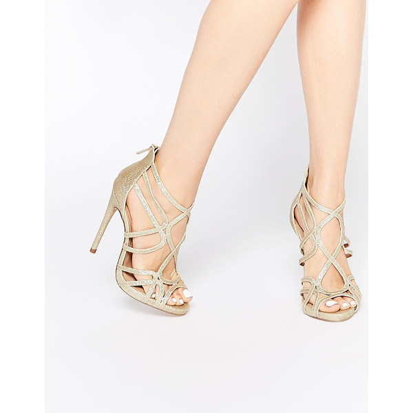ASOS HEARTBEAT Caged Heeled Sandals - Heels by ASOS Collection, Gold-tone glitter upper, Zip...
