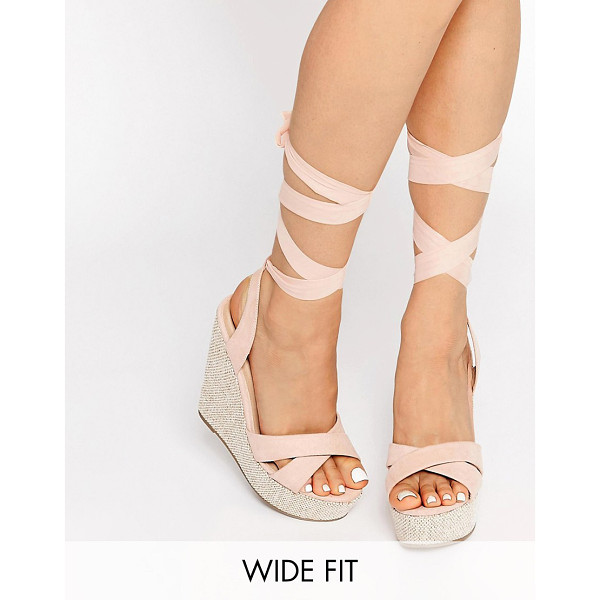 ASOS HEARTFELT Wide Fit Wedges - Wedges by ASOS Collection, Textile upper, Open toe, Woven...