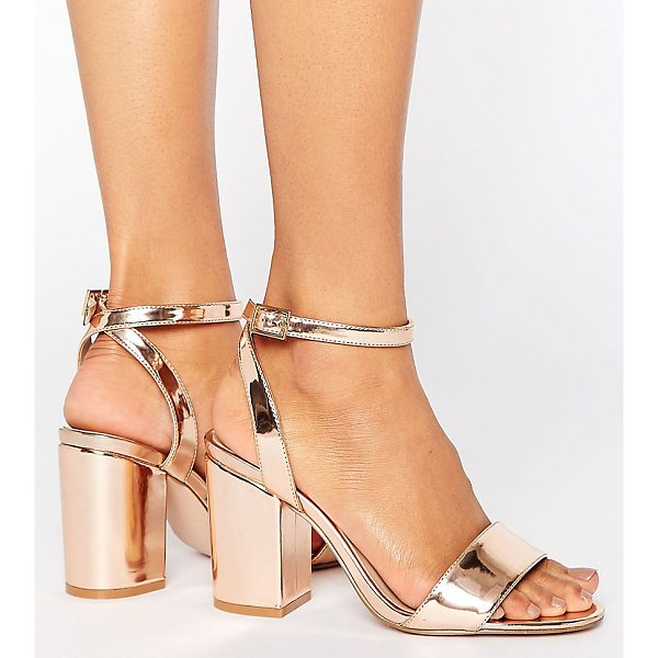 ASOS HERON Wide Fit Heeled Sandals - Shoes by ASOS Collection, Faux-leather upper, Ankle-strap...