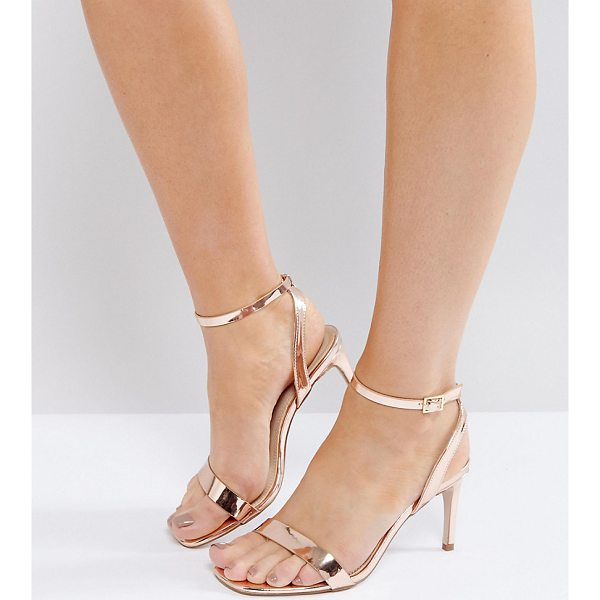 "ASOS HIDEAWAY Wide Fit Heeled Sandals - """"Sandals by ASOS Collection, Faux-leather upper, Metallic..."