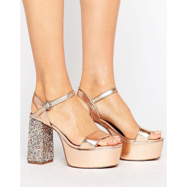 "ASOS HIERARCHY Embellished Platform Heels - """"Heels by ASOS Collection, Metallic faux-leather upper,..."