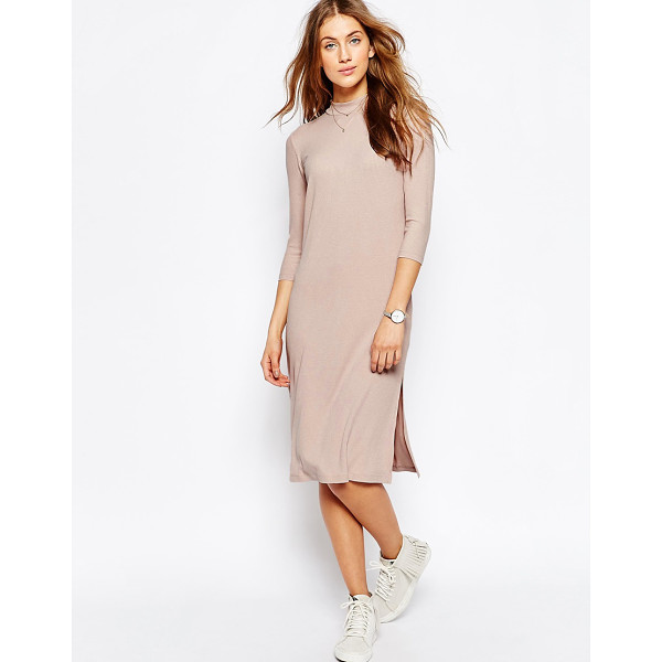 ASOS High Neck Column Dress in Rib - Dress by ASOS Collection, Ribbed jersey knit, Stretch added...