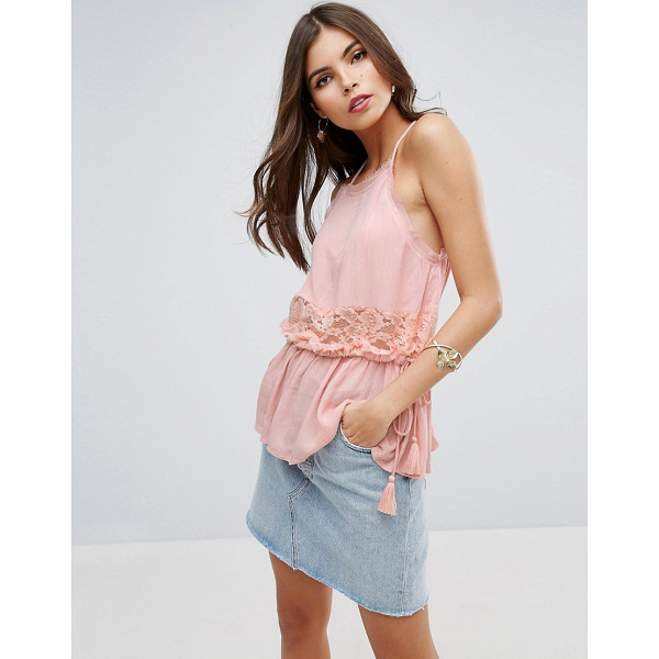 "ASOS High Neck Crinkle Cami with Lace Trim & Tassels - """"Top by ASOS Collection, Lightly-textured woven fabric,..."