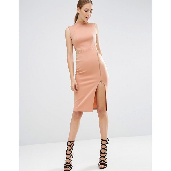 """ASOS High Neck Tabard Midi Dress With Exposed Zip - """"""""Midi dress by ASOS Collection, Smooth stretch fabric,..."""