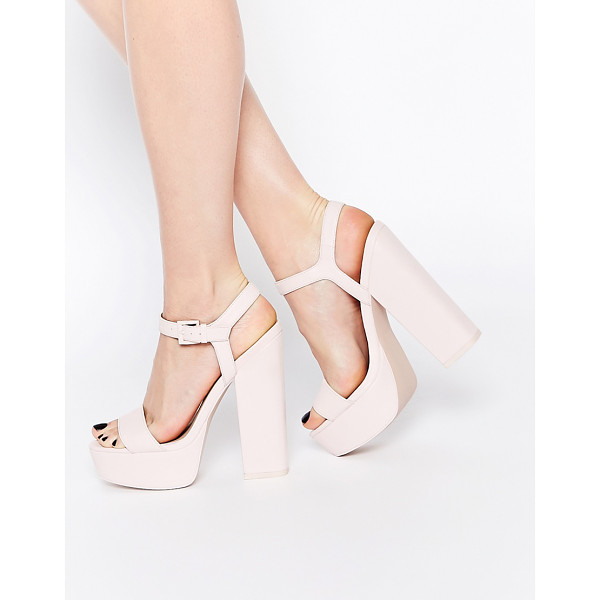 ASOS HIT THE JACKPOT Platform Heeled Sandals - Heels by ASOS Collection, Smooth leather upper, Pin buckle...