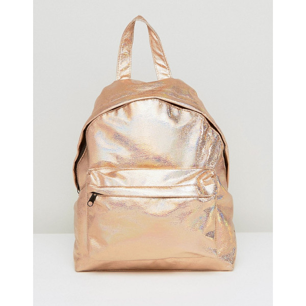 "ASOS Textured Metallic Hologram Backpack - """"Backpack by ASOS Collection, Metallic faux-leather outer,"