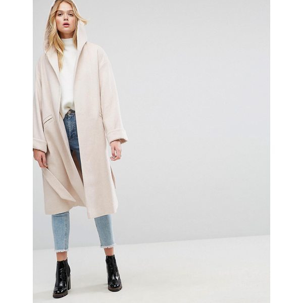 "ASOS Hooded Belted Shawl Collar Coat - """"Coat by ASOS Collection, Wool-mix fabric, Lined design,..."