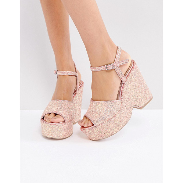 "ASOS HORATIO Wedge Sandals - """"Wedges by ASOS Collection, Glitter upper, Ankle-strap..."