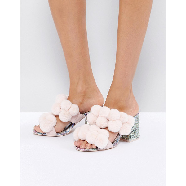 "ASOS HOT TOPIC Pom Pom Heeled Sandals - """"Sandals by ASOS Collection, Textile upper, Pom-pom..."