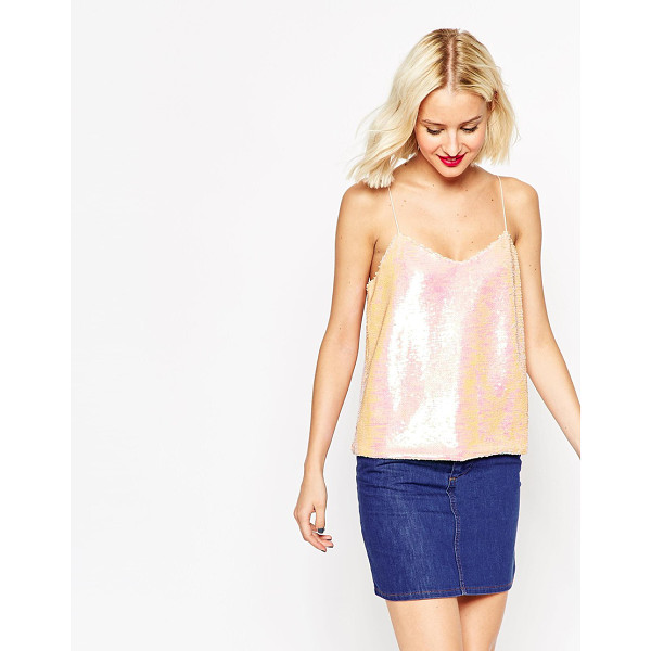 ASOS Iridescent sequin cami top - Top by ASOS Collection Sequin embellished, woven fabric...