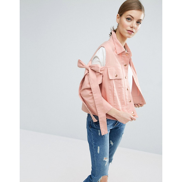 """ASOS Jacket with Bow Cold Shoulder - """"""""Denim jacket by ASOS Collection, Midweight non-stretch..."""