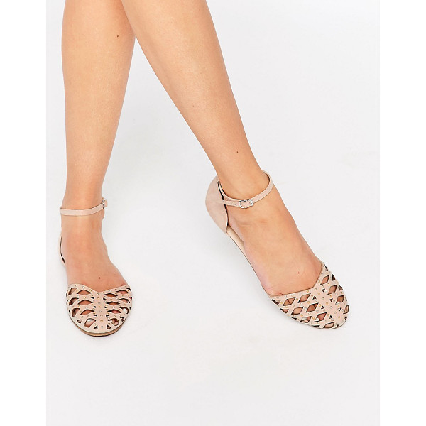 ASOS JACQUI Two Part Stud Shoes - Sandals by ASOS Collection, Smooth textile upper, Almond...