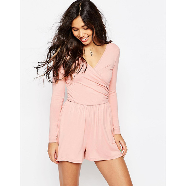 ASOS Jersey ruched wrap front romper - Romper by ASOS Collection Soft-touch jersey V-neckline...